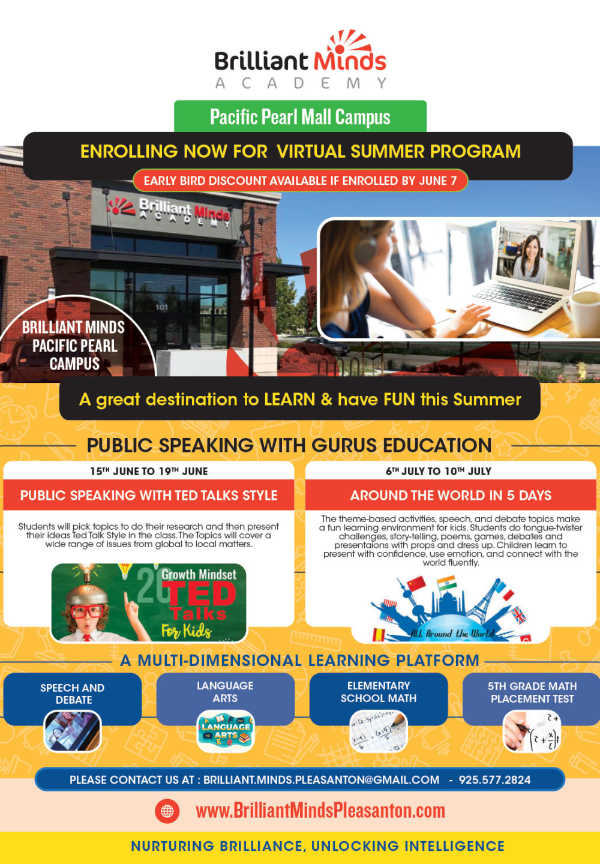 Brilliant Minds Pleasanton Virtual Summer Camp 2020